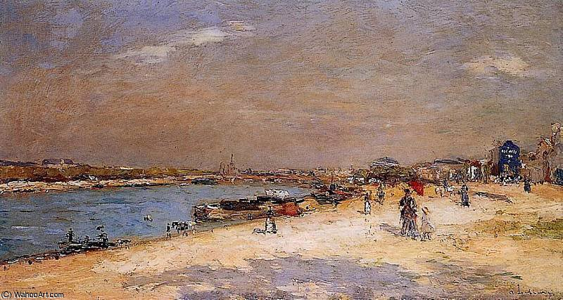 famous painting The Port of Bercy Unloading the Sand Barges of Albert-Charles Lebourg (Albert-Marie Lebourg)