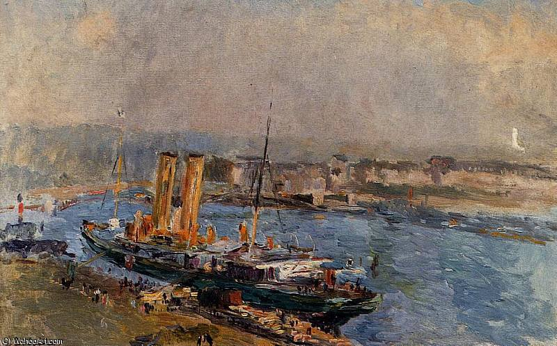 famous painting The Port of Rouen of Albert Charles Lebourg