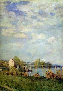 Alfred Sisley - Brink of the Seine at Bougival Sun