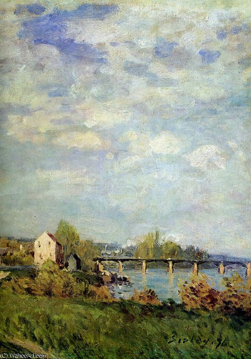 famous painting Brink of the Seine at Bougival Sun of Alfred Sisley