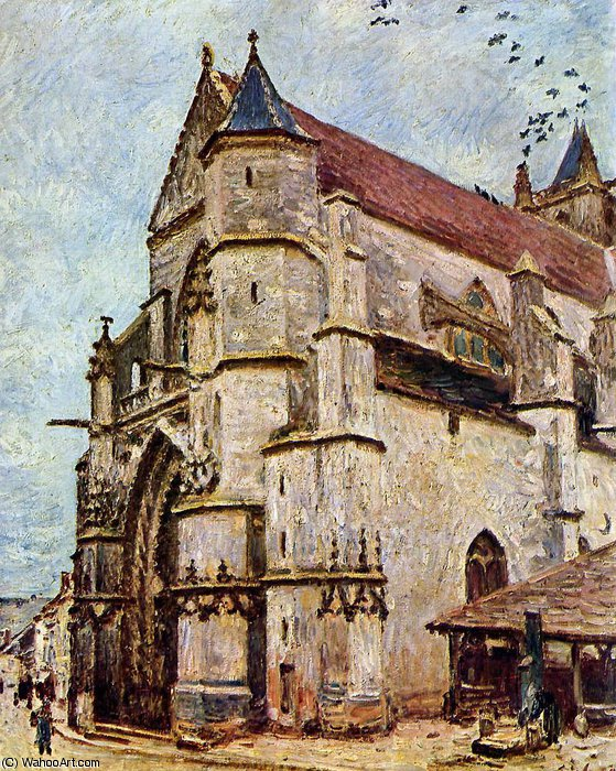 famous painting Church of Moret in the afternoon Sun of Alfred Sisley