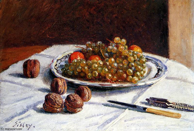 famous painting grapes and walnuts on a table of Alfred Sisley