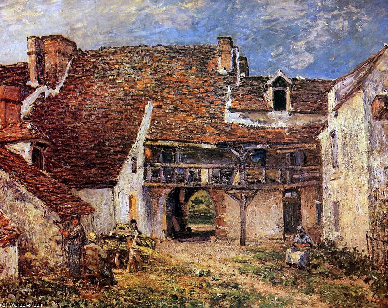 famous painting Inner court of smithy Sun of Alfred Sisley