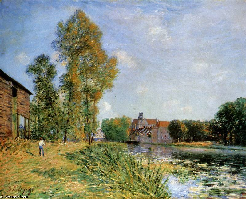 famous painting Le Loing a Moret en ete Sun of Alfred Sisley