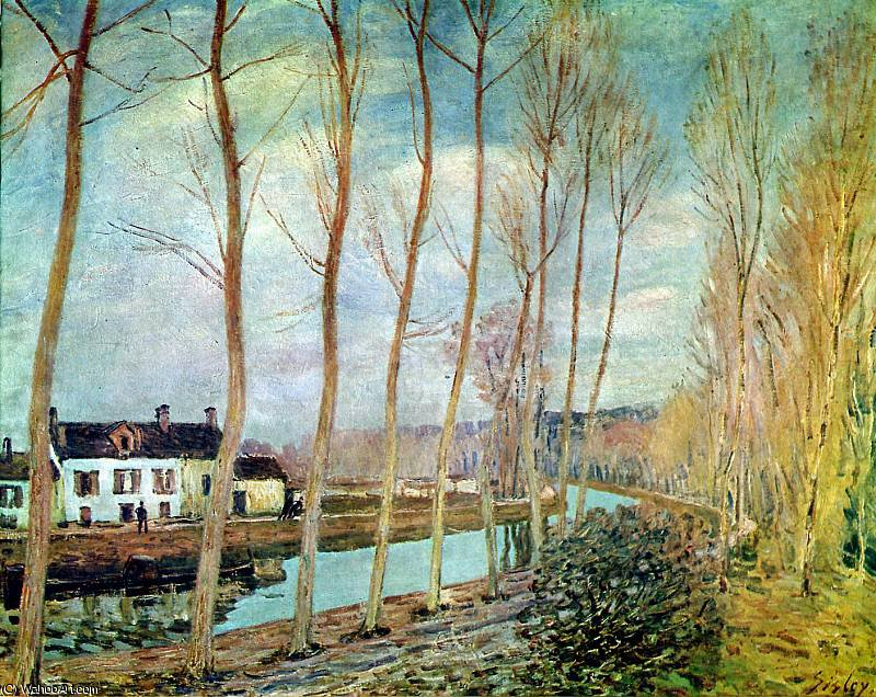 famous painting Loing canal Sun of Alfred Sisley