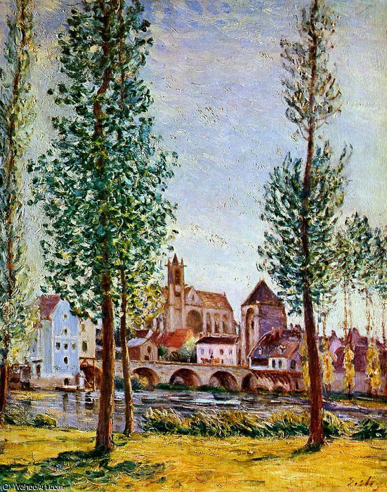 famous painting Moret sur Loing Bridge church and mill Sun of Alfred Sisley
