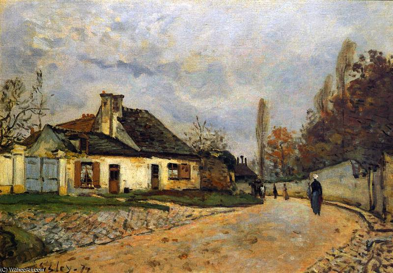 famous painting Rue des voisins a Louveciennes Sun of Alfred Sisley