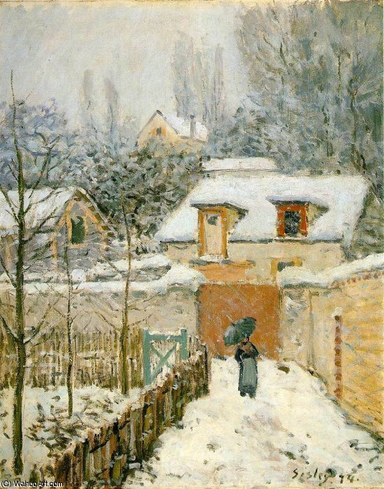 famous painting Snow at Louveciennes - - of Alfred Sisley