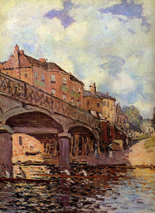 famous painting The bridge at Hampton Sun of Alfred Sisley