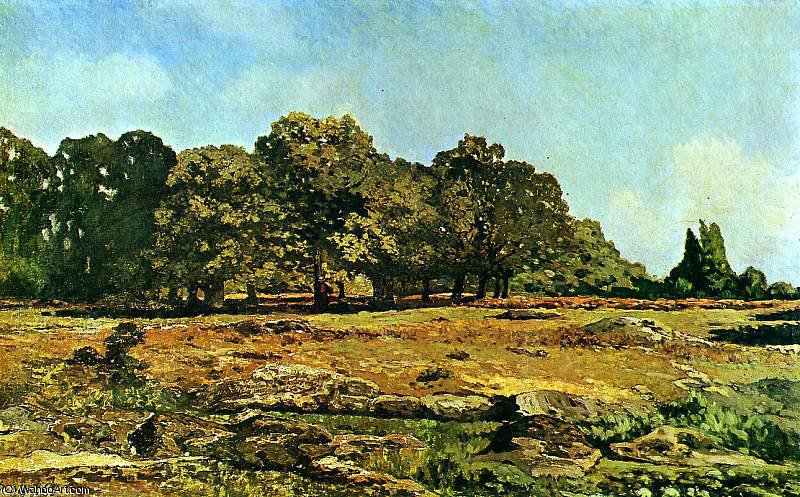 famous painting Trees at La Celle Saint Cloud Sun of Alfred Sisley