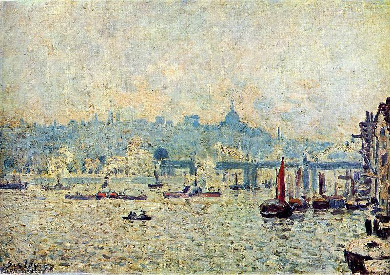 famous painting View on the Thempse Sun of Alfred Sisley