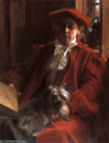 famous painting Emma Zorn and Mouche the dog of Anders Leonard Zorn