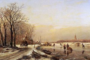 Andreas Schelfhout - Winter landscape with scaters Sun
