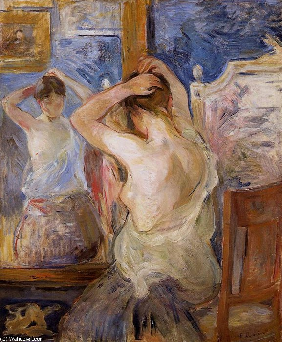 famous painting Before the Mirror of Berthe Morisot