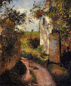 Camille Pissarro - A Peasant in the Lane at l_Hermitage, Pontoise.
