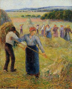 Camille Pissarro - Haymaking at Eragny.