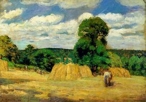 Camille Pissarro - The Harvest at Montfoucault.