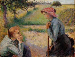 Camille Pissarro - two peasant woman chatting.