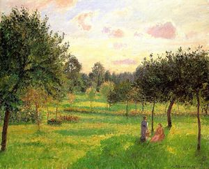 Camille Pissarro - Two Women in a Meadow - Sunset at Eragny.