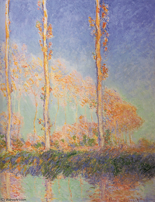 famous painting poplars of Claude Monet