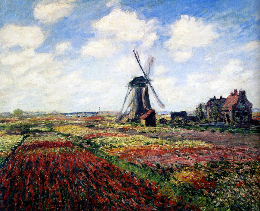 famous painting Tulip fields with the Rijnsburg windmill of Claude Monet