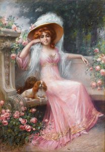 Delphin Enjolras - an elegant lady with her cavalier king charles spaniels