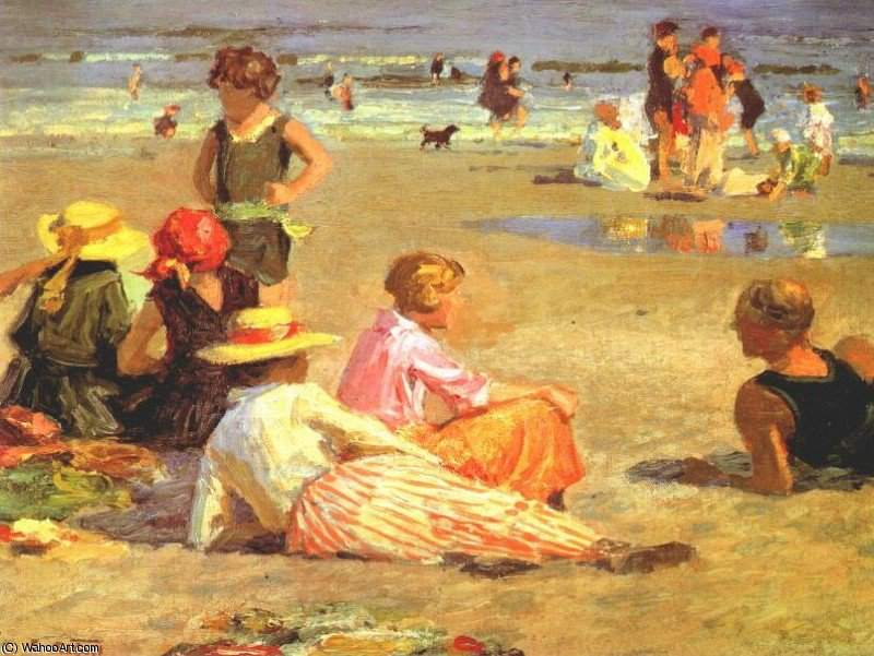 Buy Museum Art Reproductions Impressionism | manhattan beach by Edward Henry Potthast | TopImpressionists.com