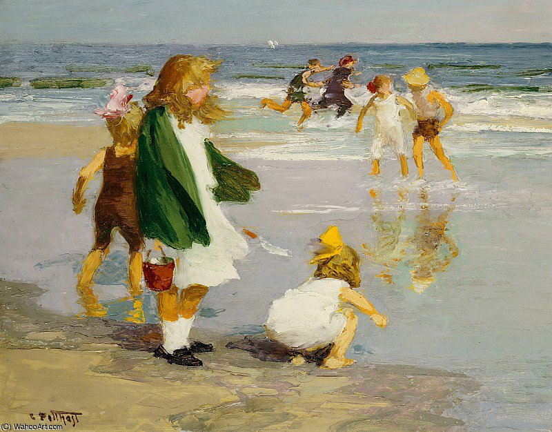 famous painting Play in the Surf of Edward Henry Potthast