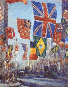 Frederick Childe Hassam - avenue of the allies (flags of uk and dominions, brazil and belgium behind) -