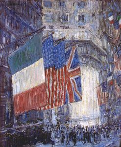 Frederick Childe Hassam - avenue of the allies (flags on the waldorf) -