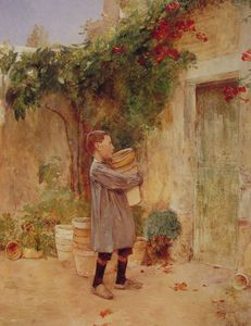 Frederick Childe Hassam - Boy with Flower Pots