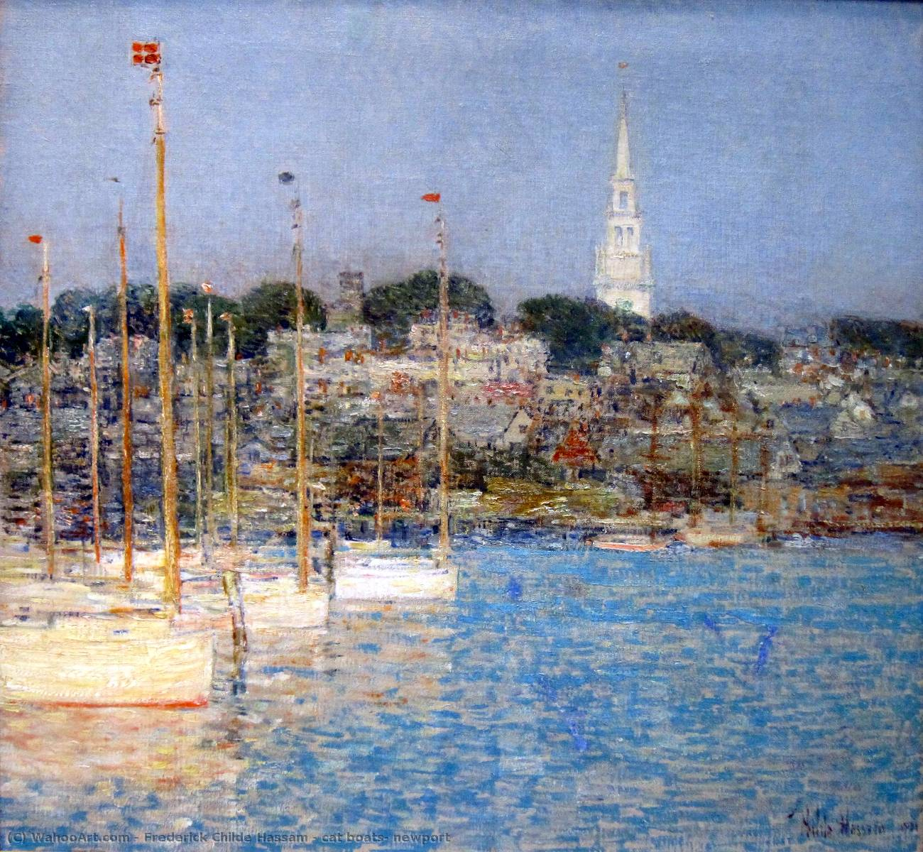 famous painting cat boats, newport of Frederick Childe Hassam