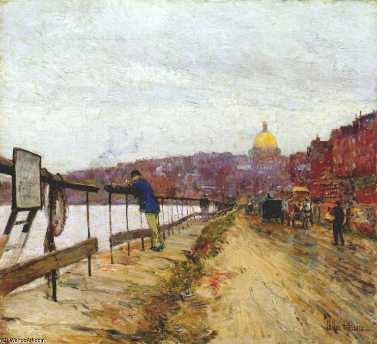 famous painting charles river and beacon hill of Frederick Childe Hassam