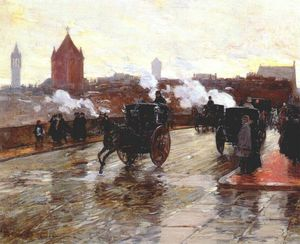 Frederick Childe Hassam - clearing sunset (corner of berkeley street and columbus avenue) -
