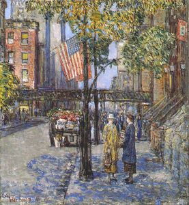 Frederick Childe Hassam - flags on the friars club