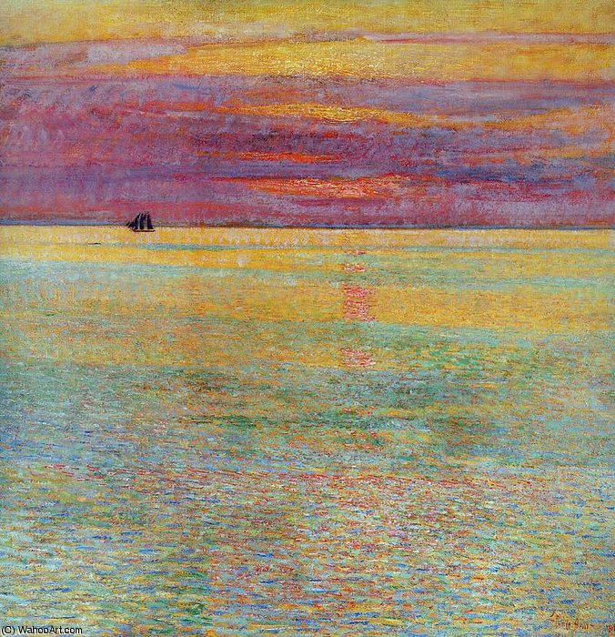 famous painting Sunset at sea Sun of Frederick Childe Hassam