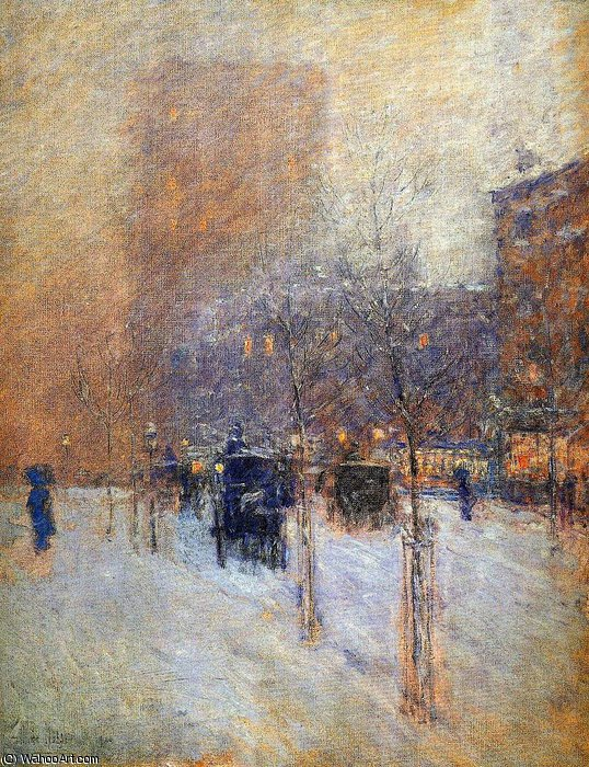 famous painting Winter evening New York Sun of Frederick Childe Hassam