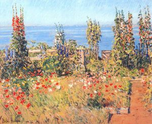 Frederick Childe Hassam - hollyhocks, isles of shoals