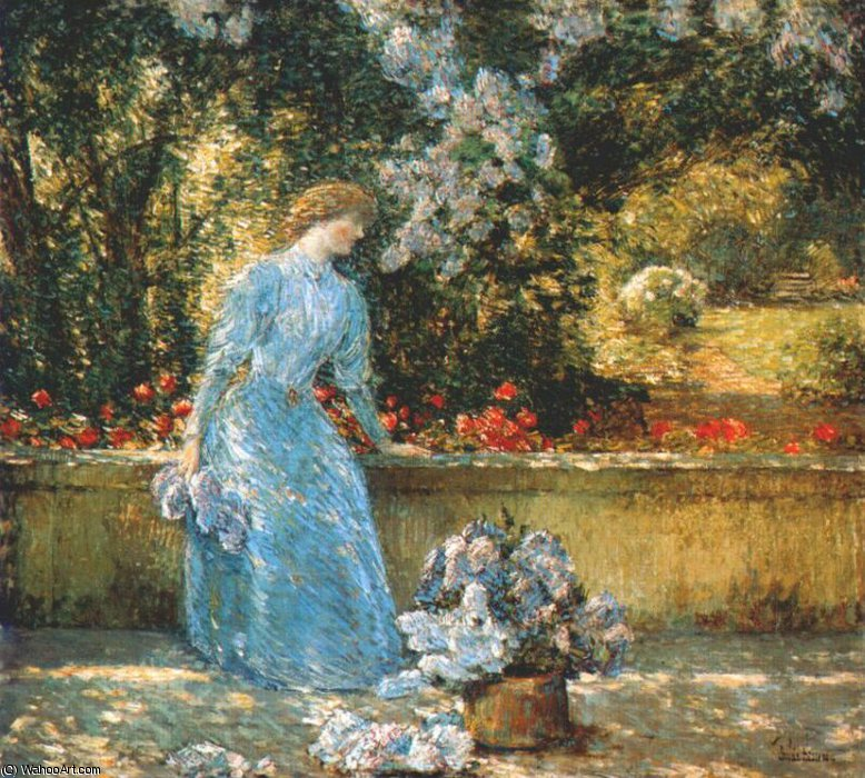 famous painting lady in the park (in the garden) of Frederick Childe Hassam