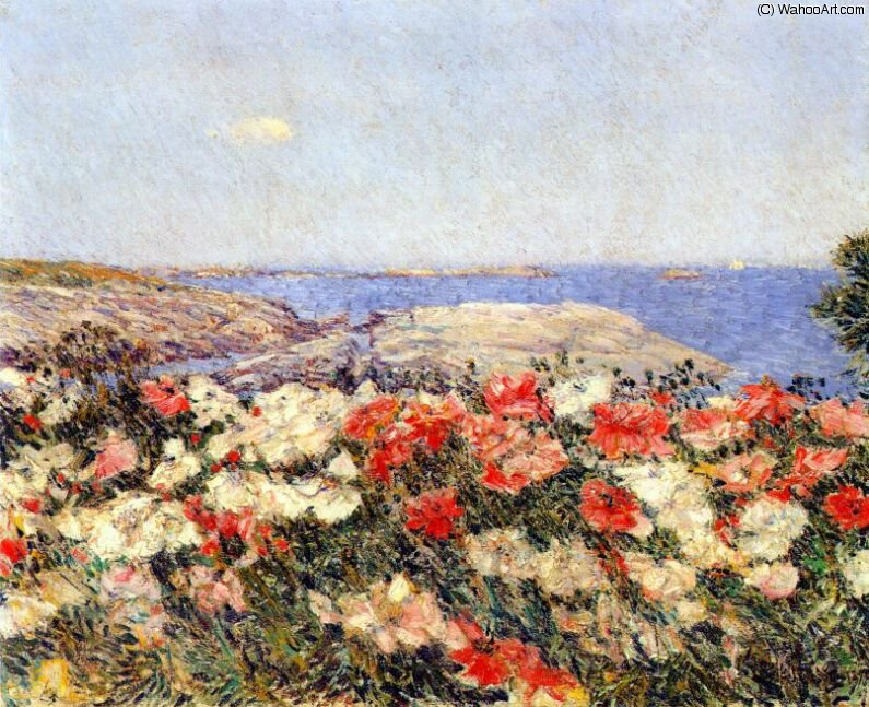 famous painting poppies on the isles of shoals of Frederick Childe Hassam