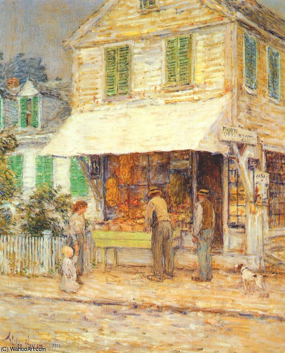 famous painting provincetown grocery store of Frederick Childe Hassam