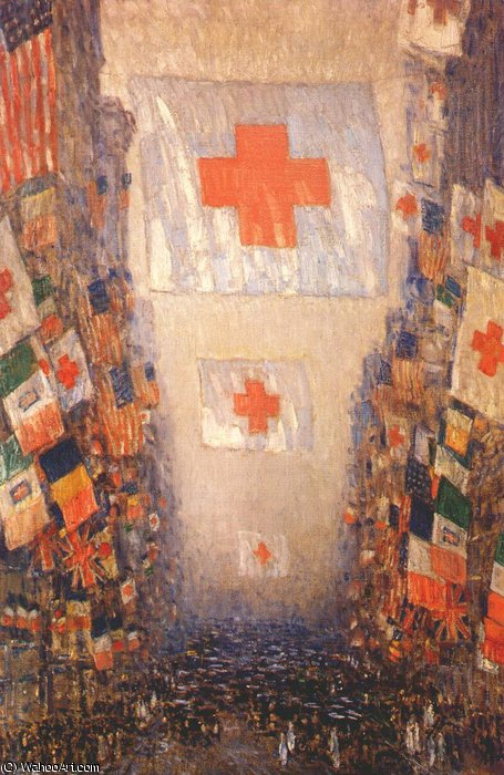 famous painting red cross drive, may of Frederick Childe Hassam