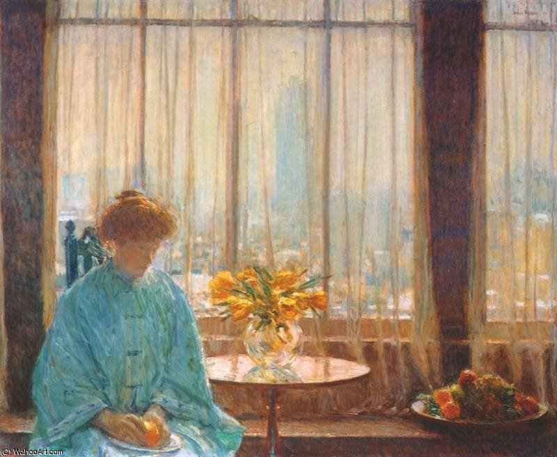 famous painting the breakfast room, winter morning of Frederick Childe Hassam