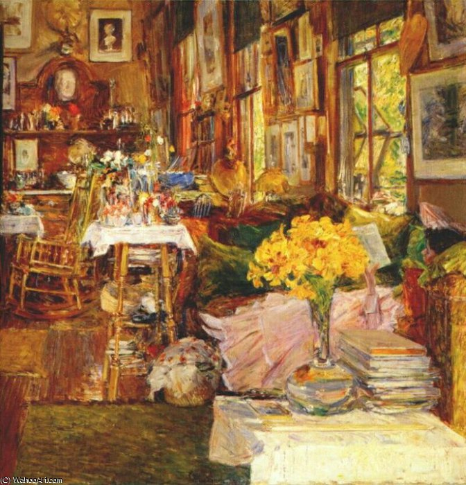famous painting the room of flowers of Frederick Childe Hassam