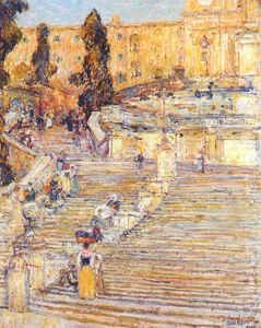 Frederick Childe Hassam - the spanish stairs, rome