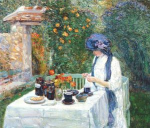 Frederick Childe Hassam - the terre-cuite tea set (french tea garden)