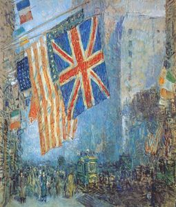 Frederick Childe Hassam - the union jack, april morning