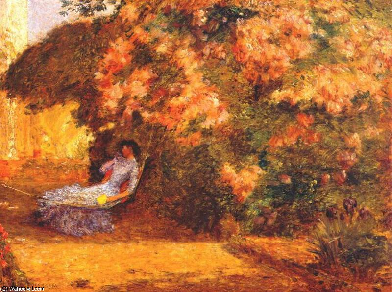 famous painting under the lilacs of Frederick Childe Hassam