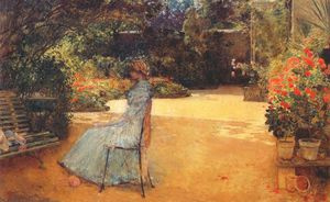 Frederick Childe Hassam - the artists wife in a garden