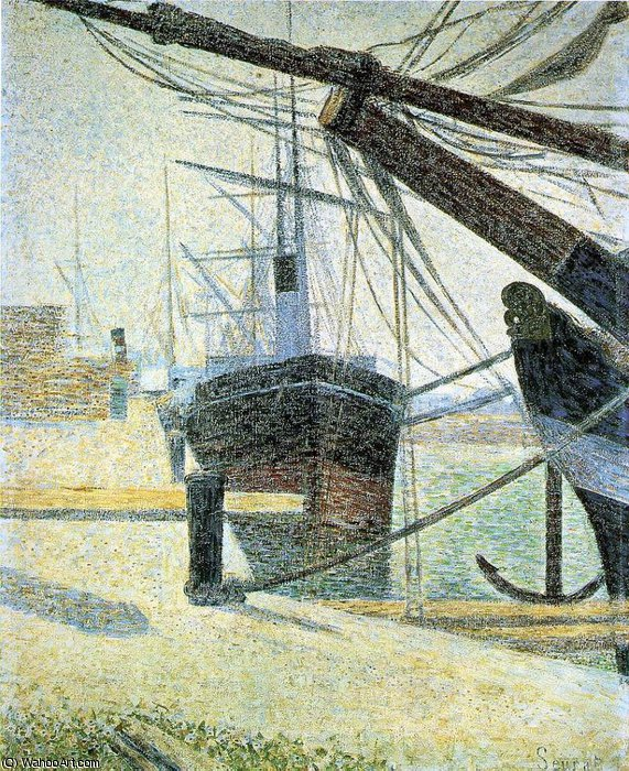 famous painting A Corner of the Harbor of Honfleur , of Georges Pierre Seurat